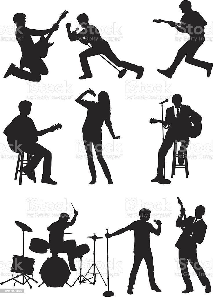 Rock band vocals guitar and drums royalty-free stock vector art