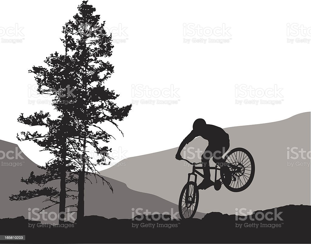 Rock Biking Vector Silhouette vector art illustration