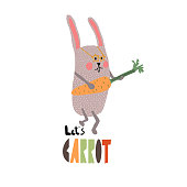 Cute bunny wearing star glasses plays carrot guitar. Let's carrot card design. Rock rabbit. Isolated on white background - Vector