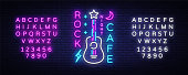 Rock Cafe Logo Neon Vector. Rock Cafe Neon Sign, Concept with guitar, Night Advertising, Light Banner, Live Music, Karaoke, Night Club, Neon Signboard, Design Element. Vector. Editing text neon sign