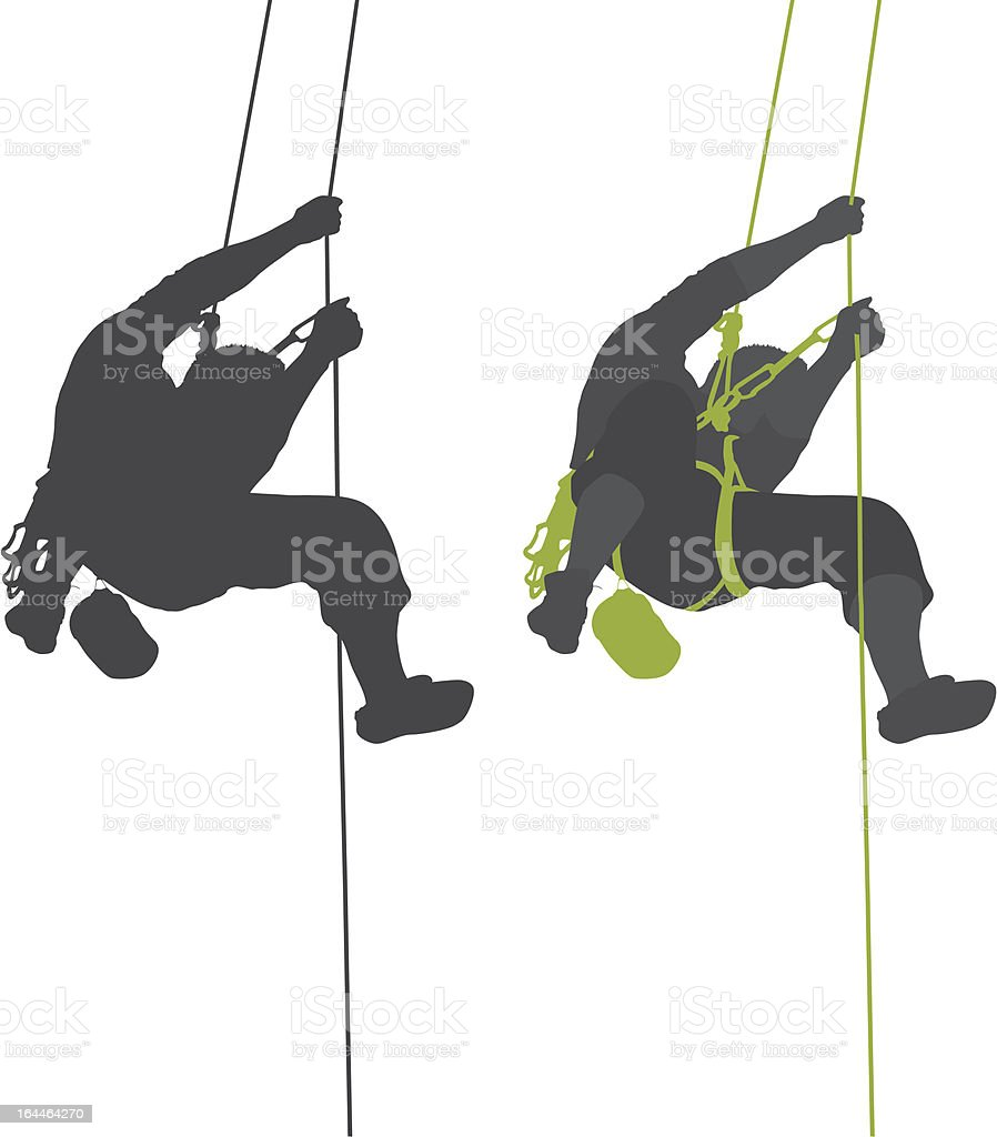 Rock climber hanging silhouette. royalty-free rock climber hanging silhouette stock vector art & more images of activity