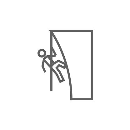 Rock climber line icon