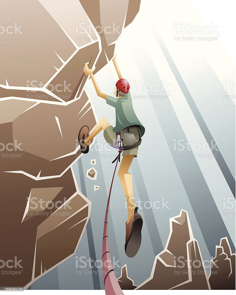 Rock climber on the cliff royalty-free stock vector art