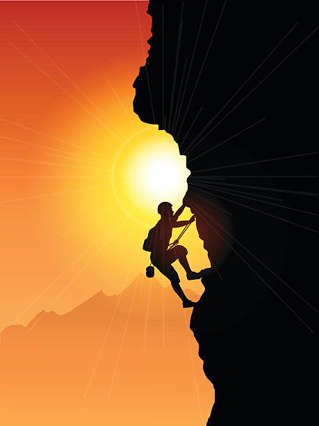 a rock climber silhouetted against the sunset - rock climbing stock illustrations, clip art, cartoons, & icons