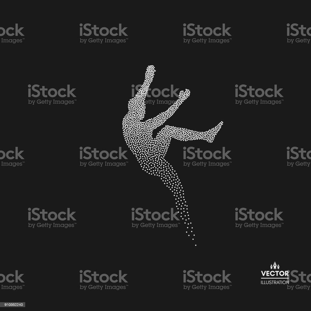 ロック ・ クライマーのシルエット。ボルダリングのスポーツ。人の点線のシルエット。ベクトルの図。 ベクターアートイラスト