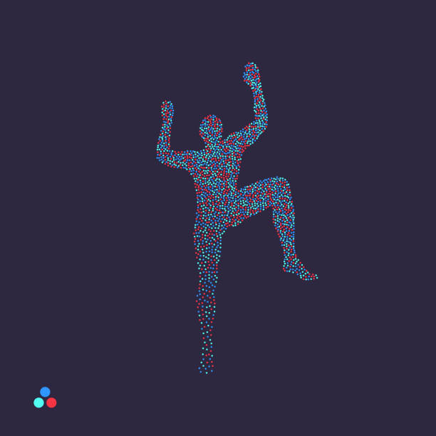 ロック ・ クライマーのシルエット。ボルダリングのスポーツ。人の点線のシルエット。ベクトルの図。 - ロッククライミング点のイラスト素材/クリップアート素材/マンガ素材/アイコン素材