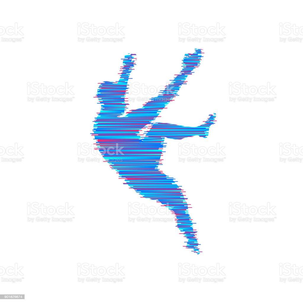 ロック ・ クライマーのシルエット。ボルダリングのスポーツ。デザインのベクトル図です。 ベクターアートイラスト