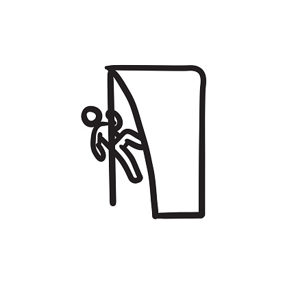 Rock climber sketch icon