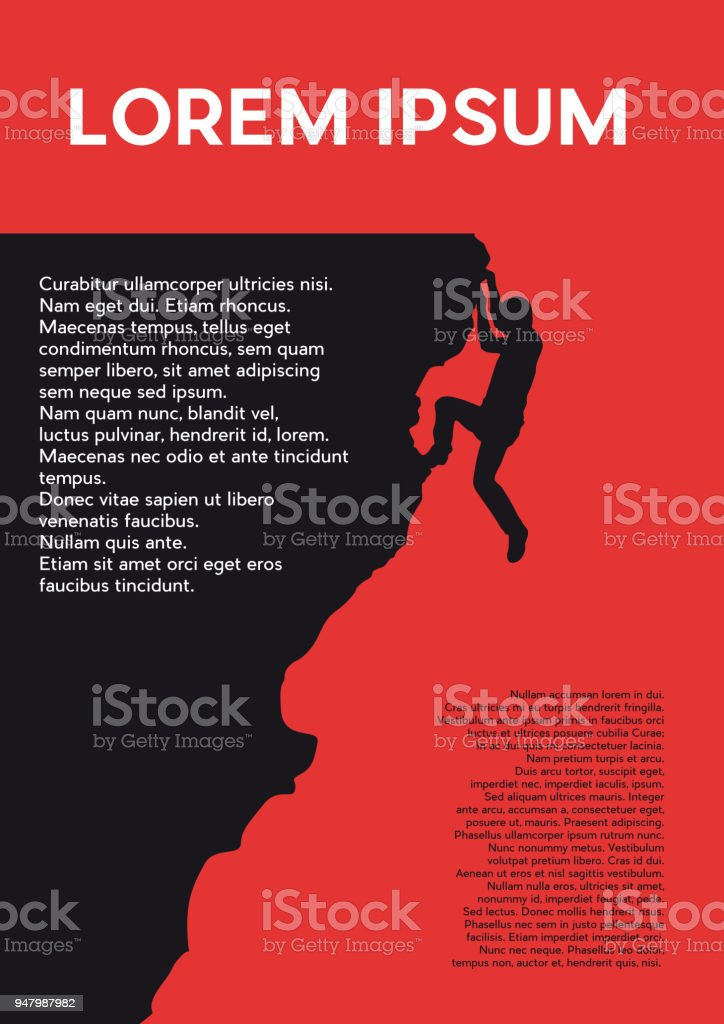 Rock climber, success and challenge concept.Creative vector background for poster, cover book or flyer.