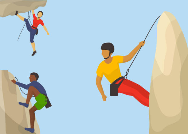 Rock climbers in protective helmet climb a mountain vector illustration. Caucasian and african man climbing a mountain with a rope. Sport and leisure activity concept. Flat design. vector art illustration