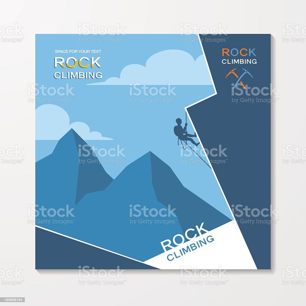 Arrampicata su roccia flyer template - illustrazione arte vettoriale