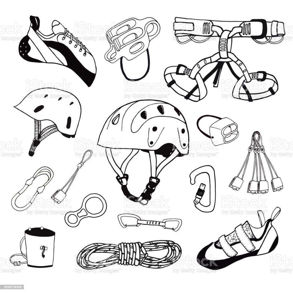 Conjunto de engranajes vector ilustración de escalada en roca - ilustración de arte vectorial