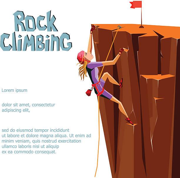 Arrampicata su roccia di ragazza. - illustrazione arte vettoriale