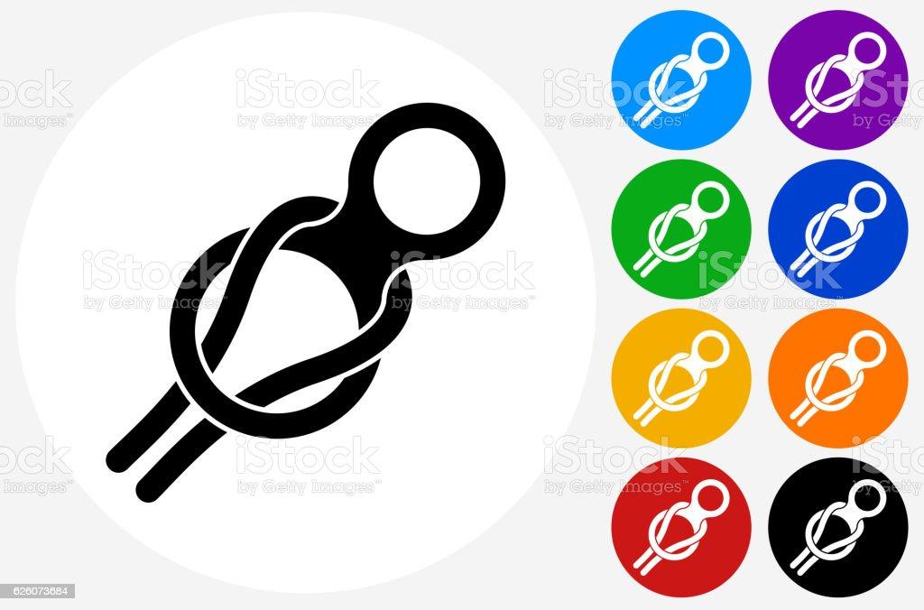 Rock Climbing Harness Icon on Flat Color Circle Buttons - ilustración de arte vectorial