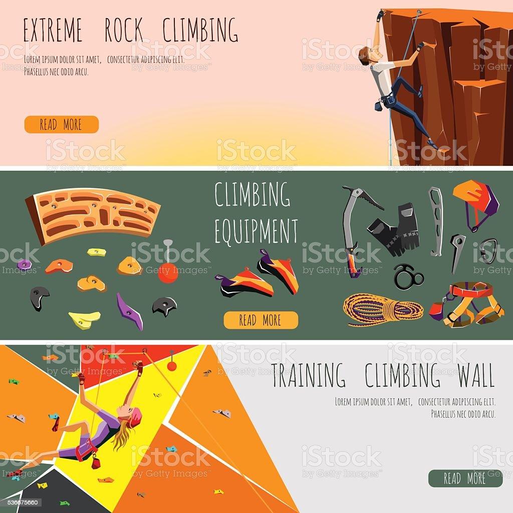 impostare di banner orizzontale di arrampicata su roccia - illustrazione arte vettoriale