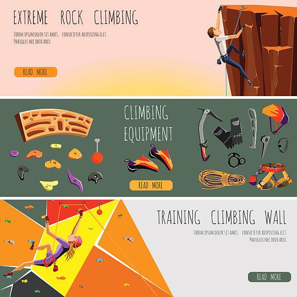 ロッククライミング水平方向のバナーの設定 - ロッククライミング点のイラスト素材/クリップアート素材/マンガ素材/アイコン素材