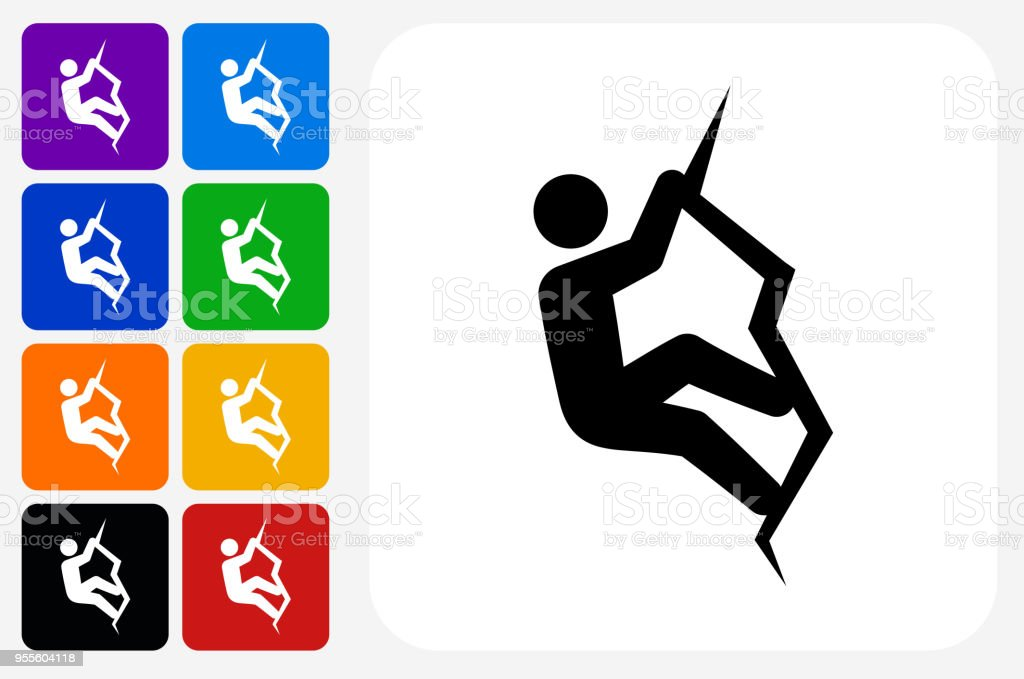 Rock Climbing Icon Square Button Set vector art illustration