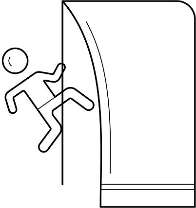 Rock climbing line icon
