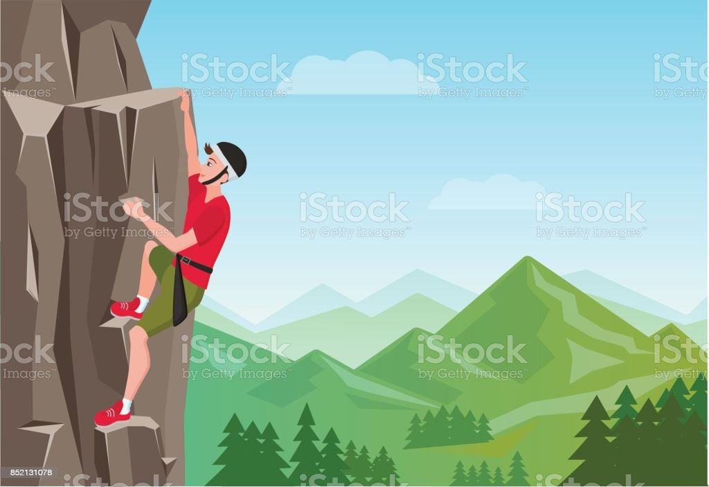 Rock Climbing man. Male on the rock. Extreme outdoor sports. Vector Illustration. vector art illustration