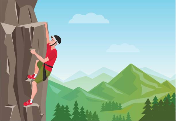 Rock Climbing man. Male on the rock. Extreme outdoor sports. Vector Illustration. Rock Climbing man. Male on the rock. Extreme outdoor sports. Vector Illustration cliff stock illustrations