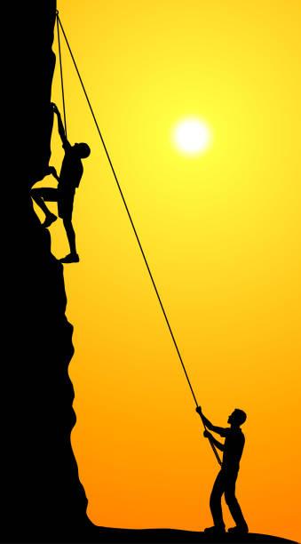 rock climbing - rock climbing stock illustrations, clip art, cartoons, & icons