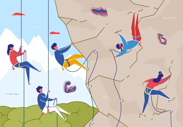 ilustrações, clipart, desenhos animados e ícones de escalada de rocha com equipamento, esporte extremo liso. - escalada em rocha