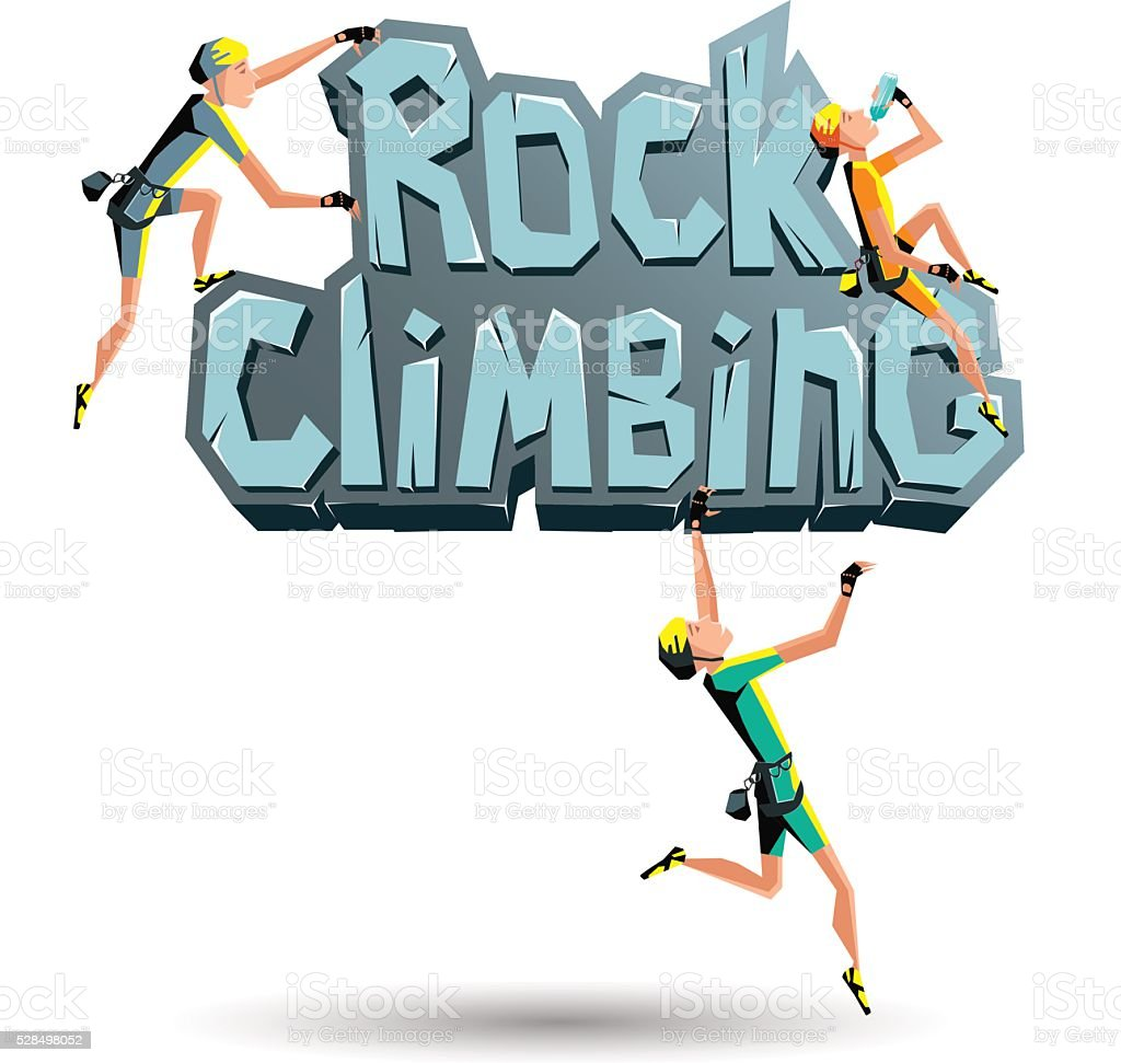 Rock Climbing words  with climbers on the rock vector art illustration