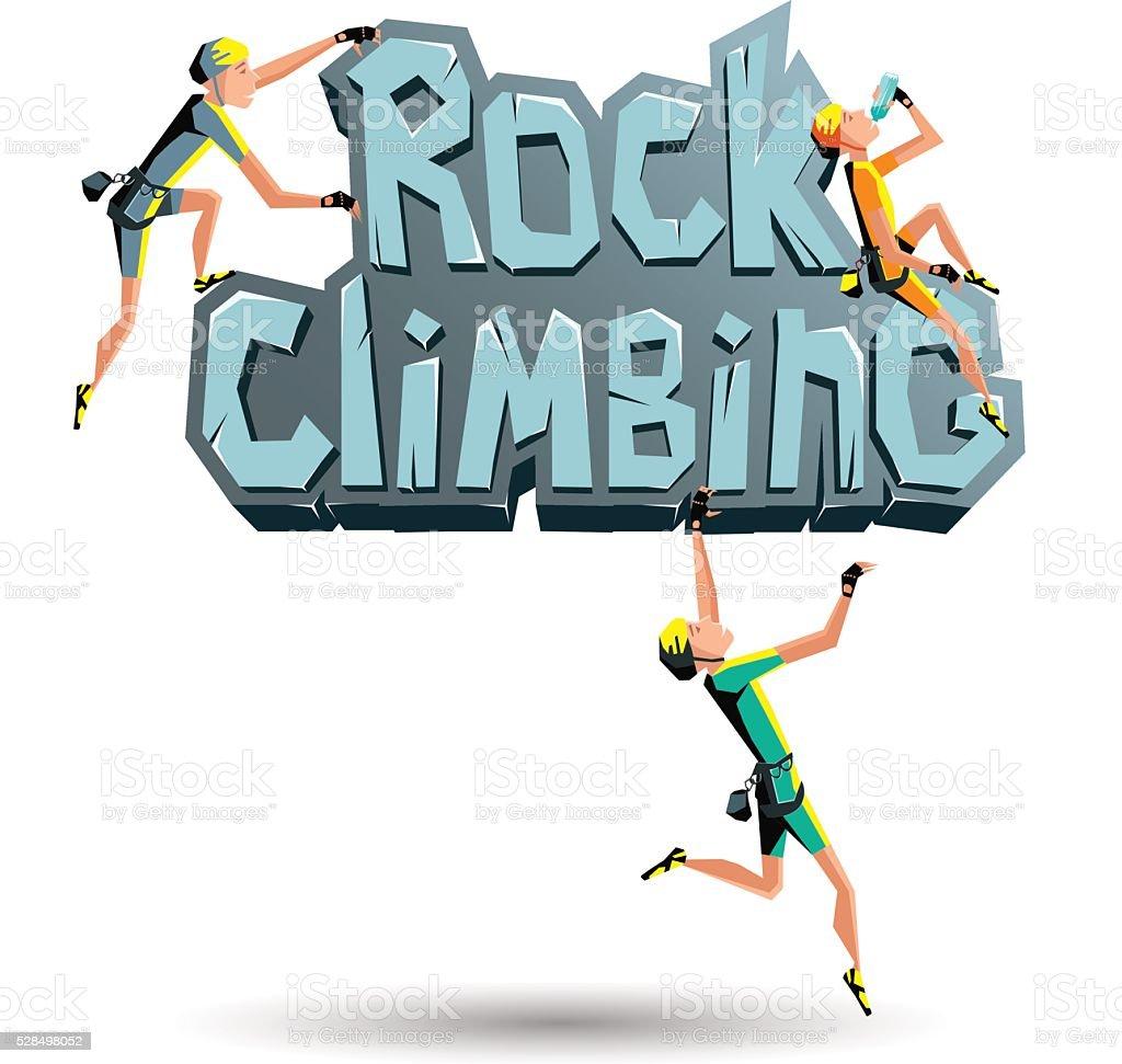 Arrampicata su roccia di parole di alpinisti sulla roccia - illustrazione arte vettoriale