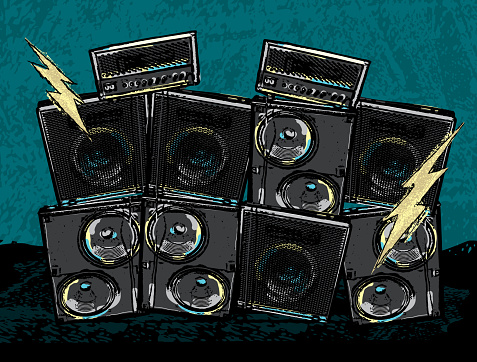 Rock concert design with stack amplifiers and lightning bolts