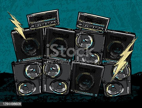 Vector illustration of a Rock concert design with stack amplifiers and lightning bolts. Fully editable. Includes vector eps and high resolution jpg.
