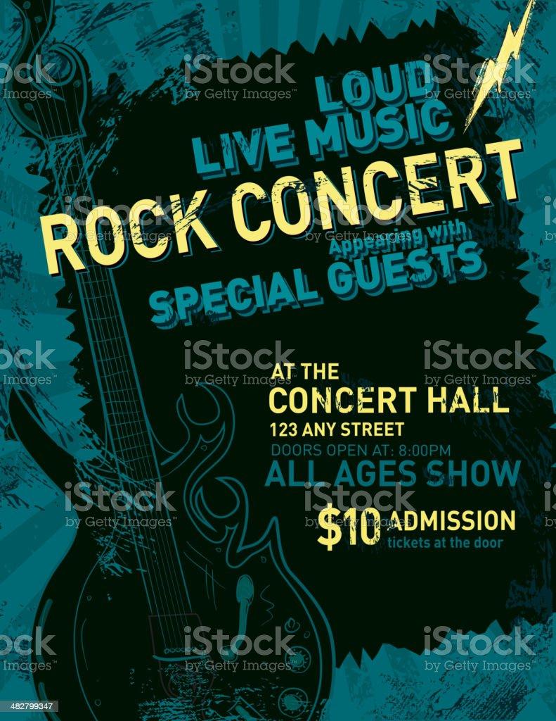 ロックコンサートのポスターデザインテンプレート イラストレーション