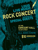 Vector illustration of a rock concert poster template design. Includes sample text design and layout as well as guitar and lightning bolt design elements. Download includes Illustrator 8 eps, high resolution jpg and png files.