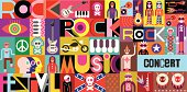 """Rock Concert Poster. Musical collage - vector illustration with inscriptions """"Rock Festival"""", """"Rock Music"""" and """"Rock Concert"""". EPS 10 vector file."""