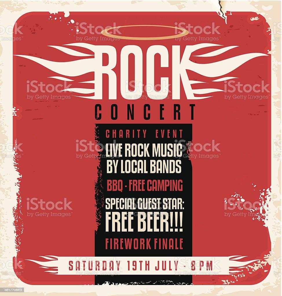 Rock concert retro poster design concept royalty-free stock vector art