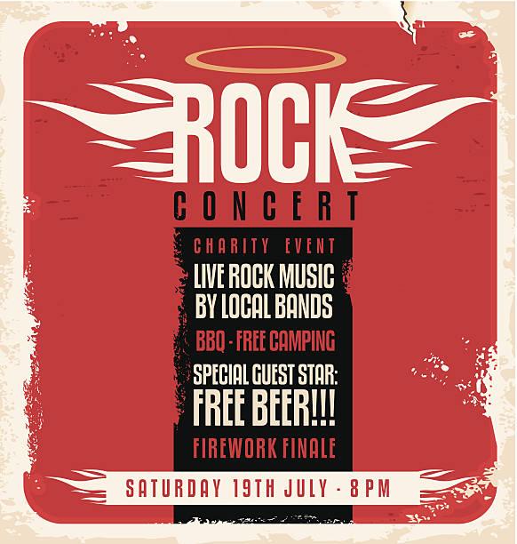 rock concert retro poster design concept - rock n roll stock illustrations, clip art, cartoons, & icons