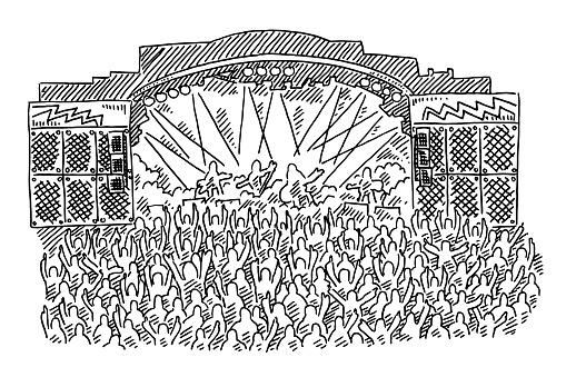 Rock Concert Stage Crowd Drawing