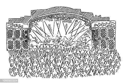 istock Rock Concert Stage Crowd Drawing 1095932324