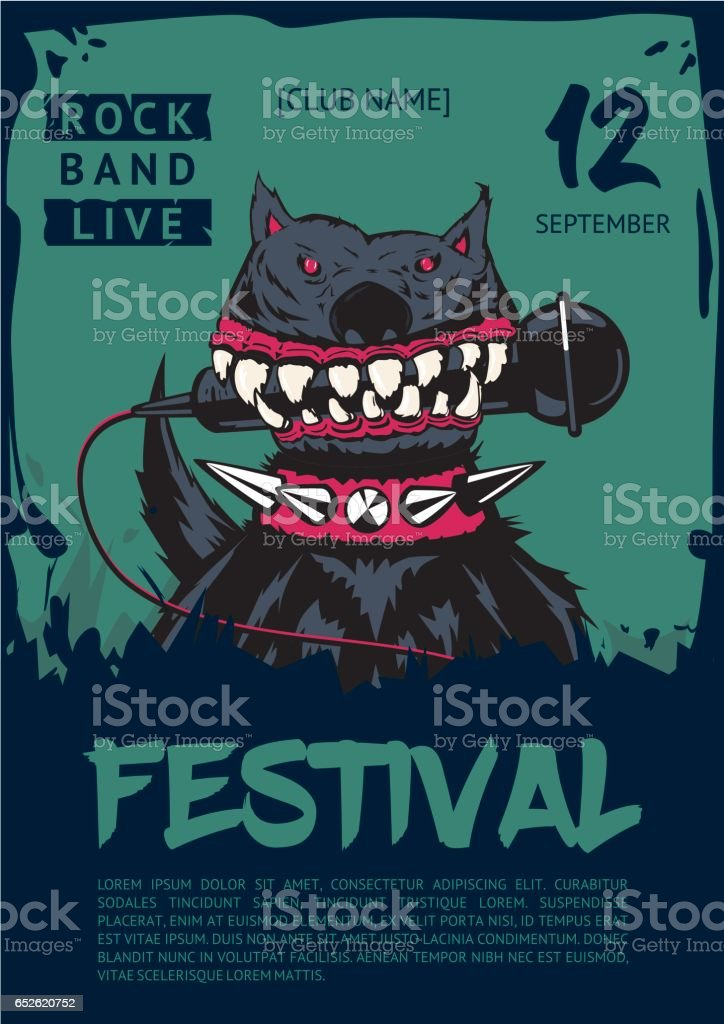 Rock dog with microphone. Music poster template. vector art illustration