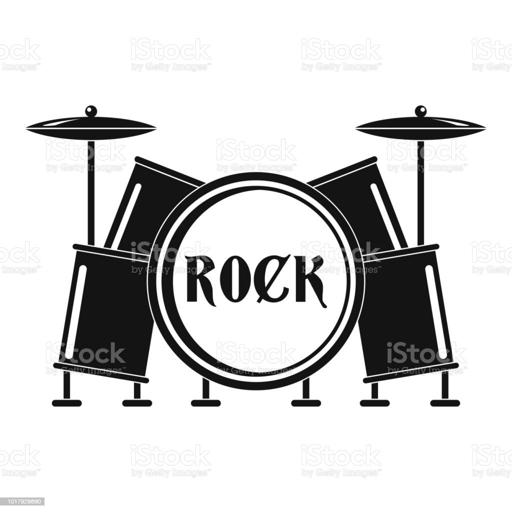 Rock drums icon, simple style vector art illustration