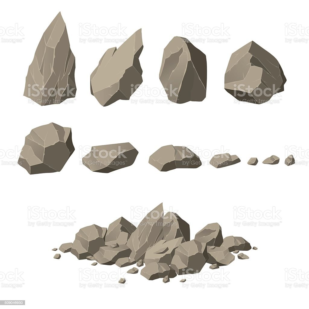 Rock elements vector art illustration