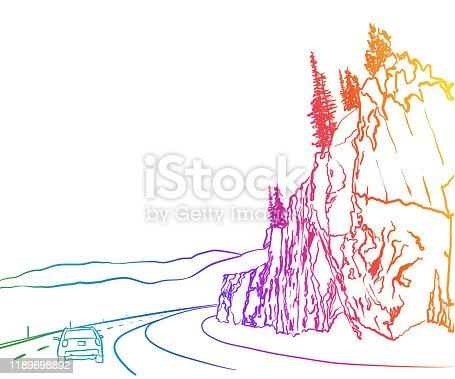 istock Rock Face Highway Rainbow 1189698892