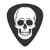 Rock fest badge metal music. Guitar pick. Mediator with skull. Hardcore festival For signage, prints and stamps