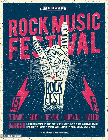 Rock Fest Flyer Poster. Vintage styled vector illustration. Grunge Poster
