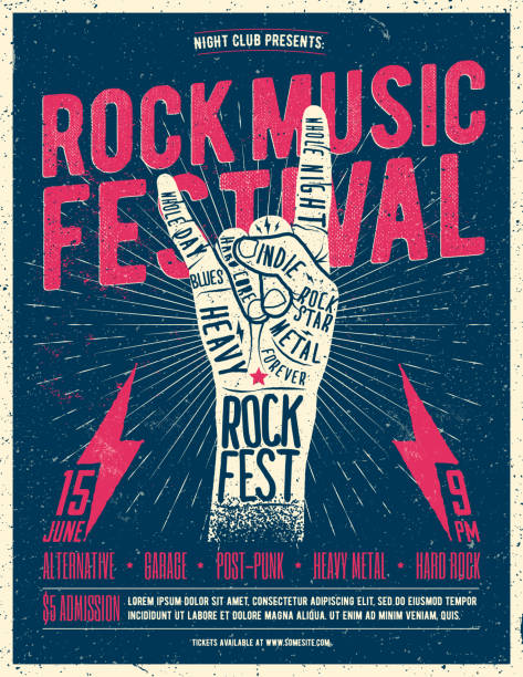 rock fest flyer poster. vintage styled vector illustration. - poster stock illustrations