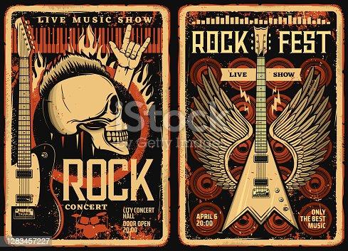 istock Rock fest posters flyers, concert music festival 1283457227