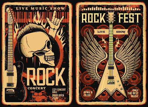 Rock fest posters flyers, concert music festival