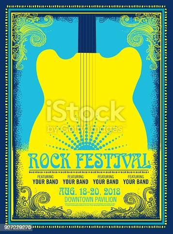 Rock festival poster advertisement design template. Retro styled. Easy to edit. Placement text included.