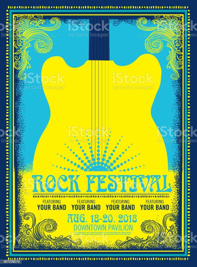 Annonce de rock festival affiche - Illustration vectorielle