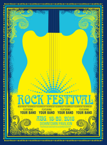 rock festival poster advertisement - poster stock illustrations
