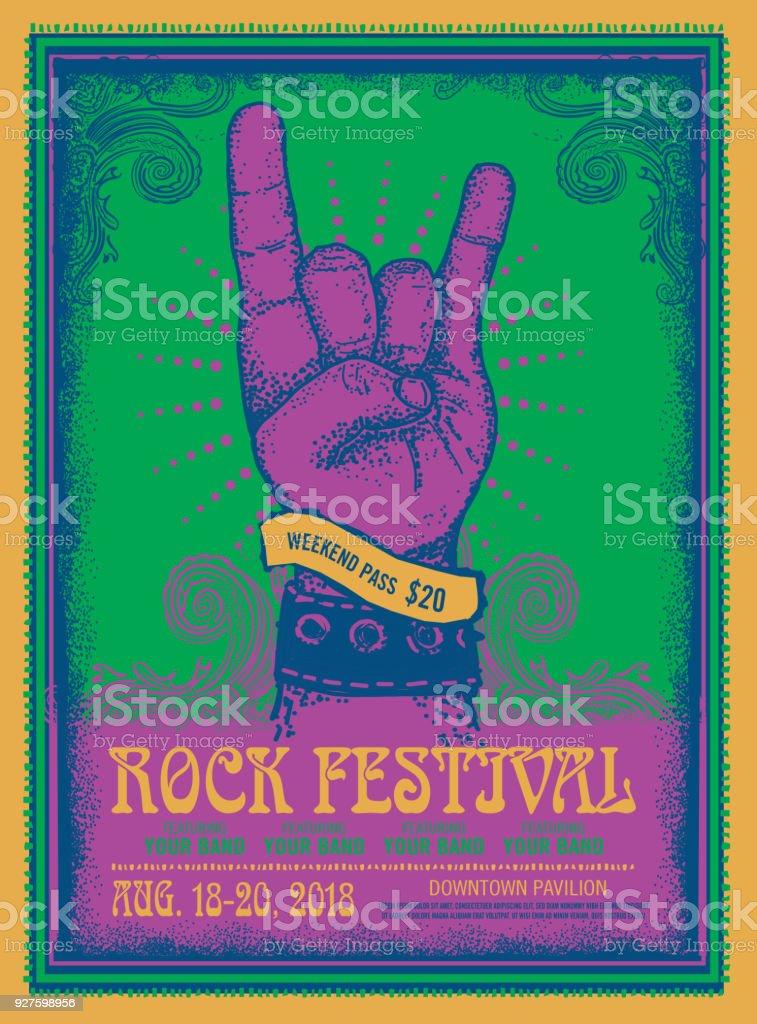 Rock Festival poster design template with devil horns gesture vector art illustration